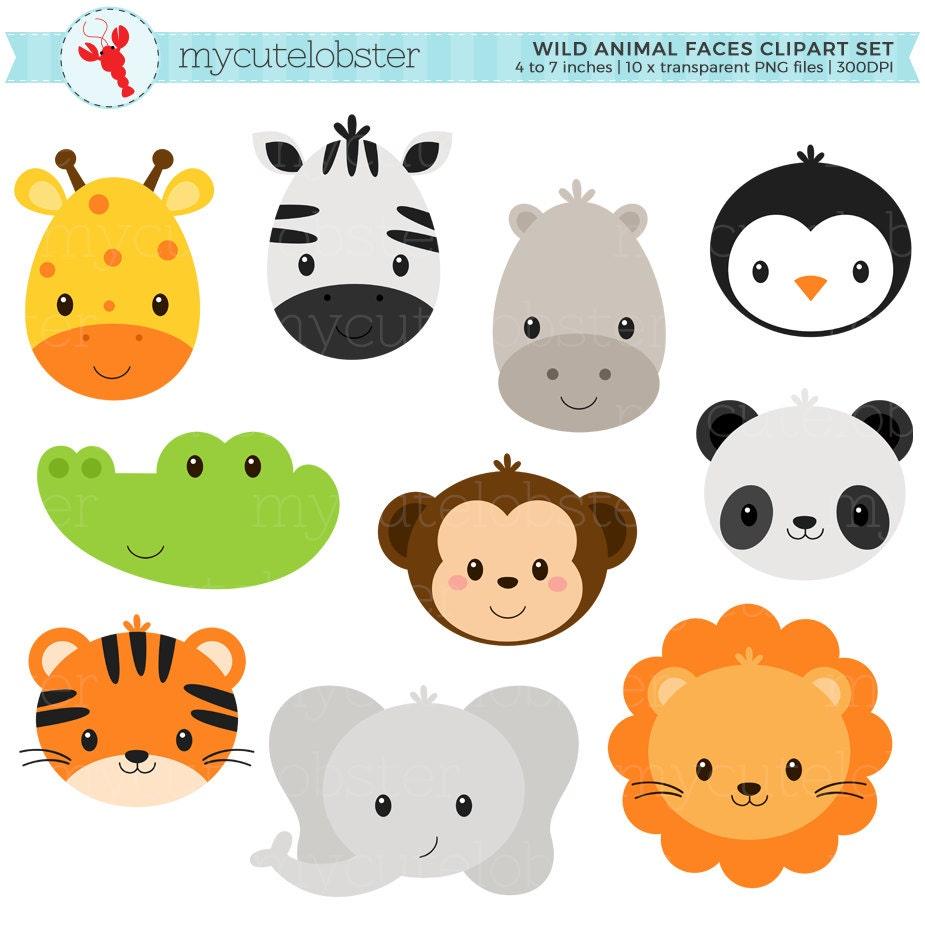 Wild Animal Faces Clipart Set giraffe crocodile panda | Etsy