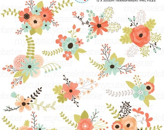 Floral Bunches Clipart Set - clip art set of floral elements, flowers, wedding flower - personal use, small commercial use, instant download