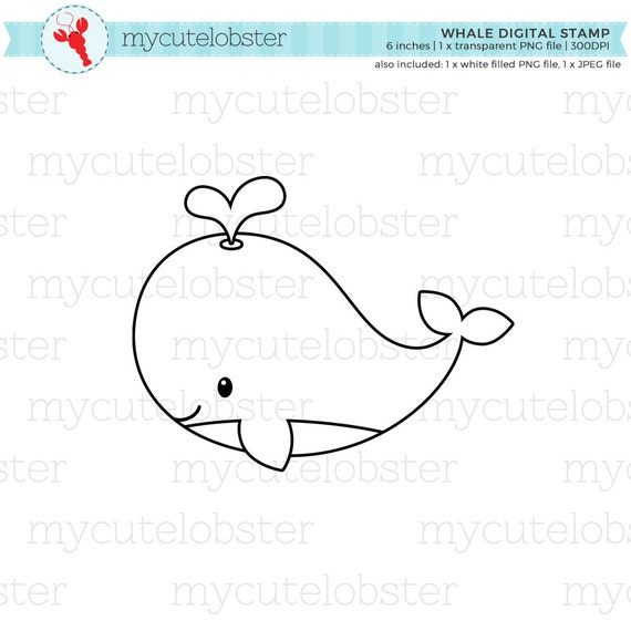 Whale Digital Stamp Clipart Line Art Cute