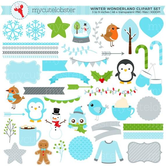 winter wonderland clipart set digital elements frames etsy rh etsy com winter wonderland border clipart winter wonderland clipart images