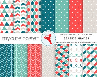 Seaside Shades Digital Paper Set - polka, arrows, honeycomb, swirl, patterned paper - personal use, small commercial use, instant download