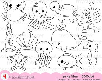 Sea Creatures Digital Stamps - outlines, line art, crab, whales, sea, ocean, octopus - personal use, small commercial use, instant download