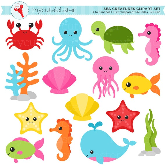 sea creatures clipart set sea animals clip art crab fish etsy rh etsy com sea animal clipart for kids sea animals clip art black and white