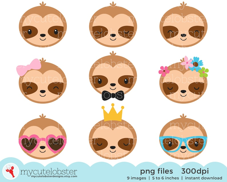 happy sloths set of cute sloths sleepy sloths Small Commercial Use Personal Use Sloth Faces Clipart Instant Download