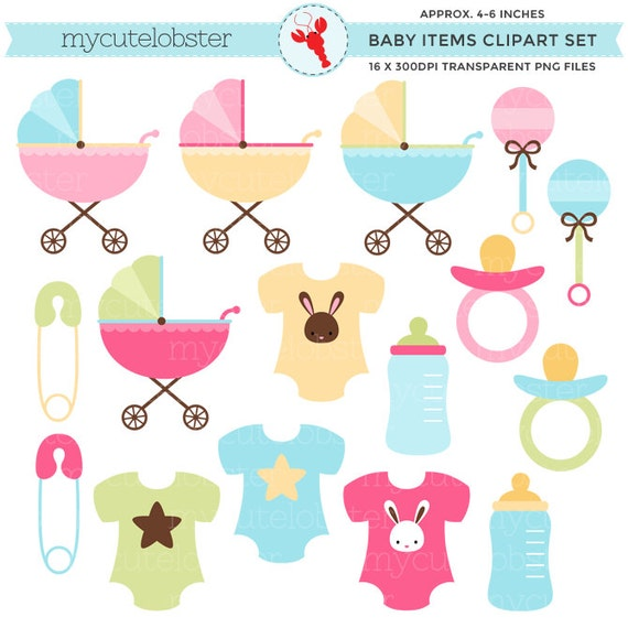 baby items clipart set clip art set of strollers clothes etsy rh etsy com baby items clip art free free baby items clipart