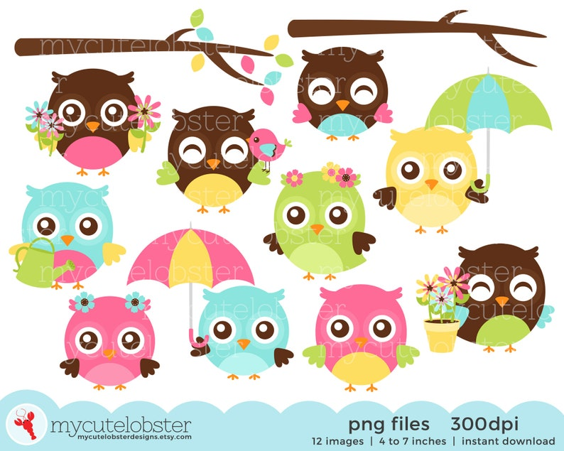 Spring Owls Clipart Set cute owls umbrella flowers | Etsy