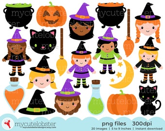 Halloween Witches Clipart - halloween clip art, cute witches, cauldrons, cats, moon - Instant Download, Personal Use, Small Commercial Use