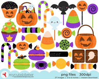 Halloween Candy & Treats Clipart - candy clipart, sweets, cupcakes, halloween clipart - Instant Download, Personal Use, Small Commercial Use