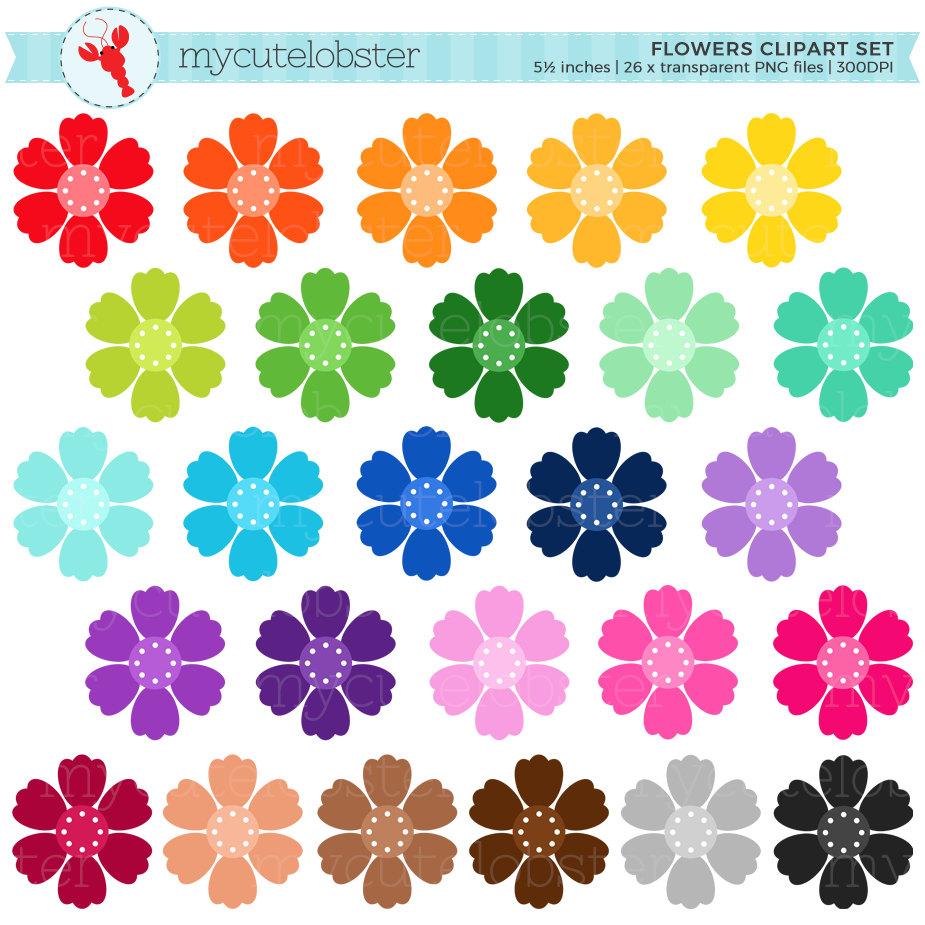 Rainbow Flowers Clipart Set flower clip art floral rainbow ...
