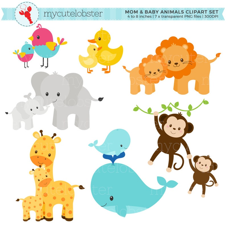 Mom and Baby Animals Clipart Set clip art set of animals ...