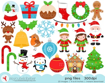 Christmas Clipart Set - clip art set of santa, wreath, holly, presents, christmas - Instant Download, Personal Use, Small Commercial Use