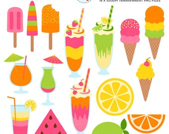Sweet Summertime Clipart Set - ice cream, summer, milkshakes, drinks, fruit, clip art - personal use, small commercial use, instant download