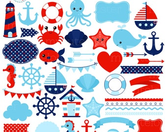 Nautical Clipart Set - digital elements - ocean, sea, borders, frames, arrows - personal use, small commercial use, instant download
