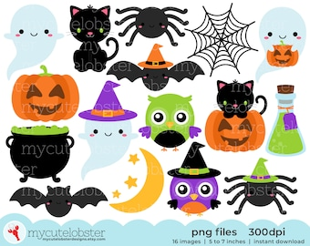 Halloween Friends Clipart - cute halloween clip art set, ghosts, owls, bats, spiders - Instant Download, Personal Use, Small Commercial Use