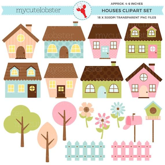 Cute Houses Clipart Set clip art set of little houses | Etsy