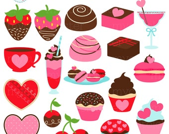 Sweet Valentine Clipart Set - cookies, strawberries, cupcakes, Valentine's Day, love - personal use, small commercial use, instant download