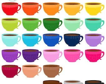 Rainbow Coffee Cups Clipart Set - coffee, mugs, drinks, cups, rainbow, clip art set - personal use, small commercial use, instant download