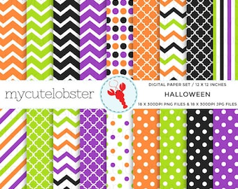 Halloween Digital Paper Set - assorted halloween paper pack, halloween shades, polka - personal use, small commercial use, instant download