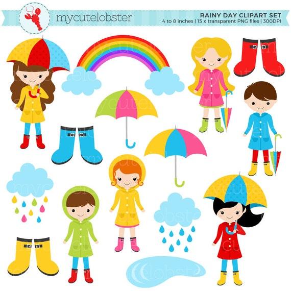 Rainy Day Character Clipart Set clip art set of rain | Etsy