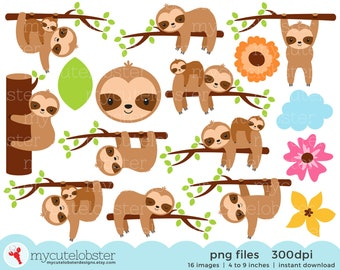 Sloth Clipart - cute sloths, sleepy sloths, baby sloths, sloths and flowers - Instant Download, Personal Use, Small Commercial Use