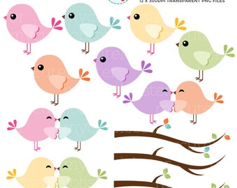 Pastel Birds Clipart Set - clip art set of birds, lovebirds, branches - personal use, small commercial use, instant download