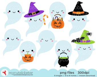 Halloween Ghosts Clipart - halloween clipart, cute ghosts, ghosts clipart set - Instant Download, Personal Use, Small Commercial Use