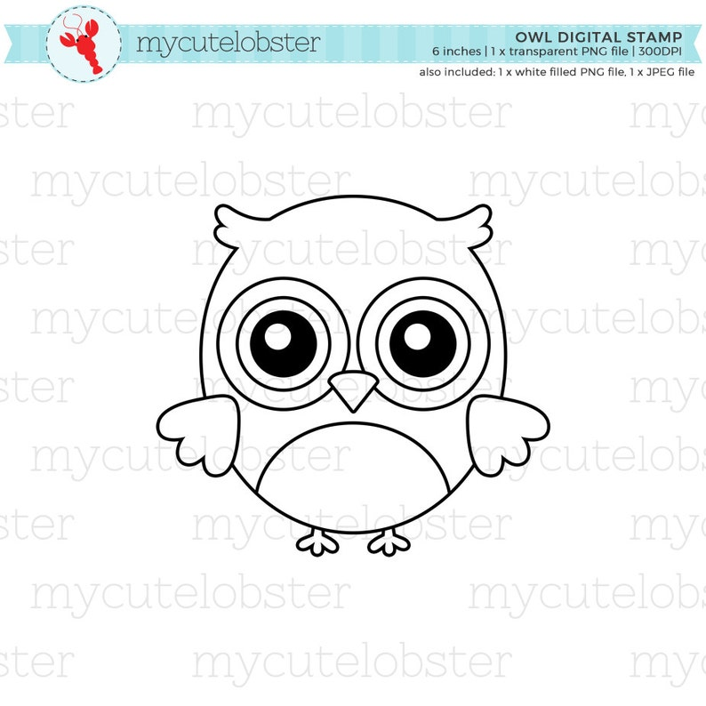 Owl Digital Stamp Clipart cute owl line art owl outline | Etsy