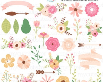 Floral Collection Clipart Set - flowers, leaves, floral clip art, wedding, arrows - personal use, small commercial use, instant download