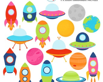 Space Rockets, Ships & Planets Clipart Set - outer space, spaceships, planets, rocket - personal use, small commercial use, instant download
