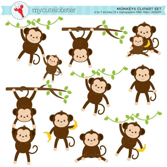 monkeys clipart set clip art set of cute monkeys monkey etsy rh etsy com Money Clip Art clipart of monkeys in trees
