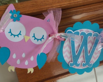 Welcome Baby Owl Baby Shower banner, Pink and Turquoise Welcome Baby banner, Owl Baby Banner, Owl Baby Girl Shower Banner, Pink Damask
