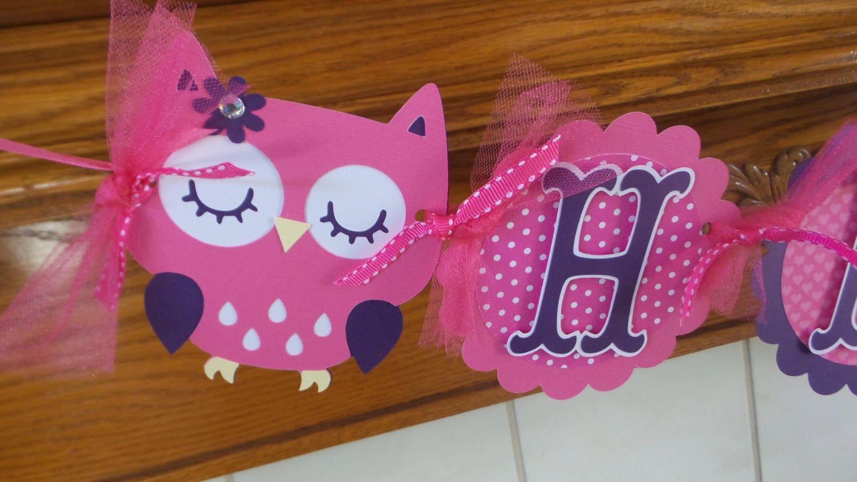 Banner de feliz cumpleaños del buho buho buho púrpura rosa