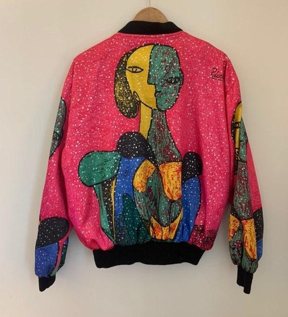 Vintage 90s Picasso Art Print Silk Bomber Rave Ja… - image 6