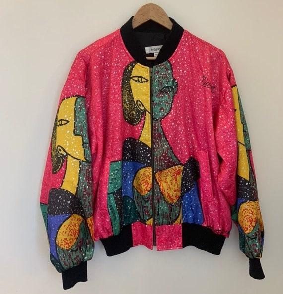 Vintage 90s Picasso Art Print Silk Bomber Rave Ja… - image 2