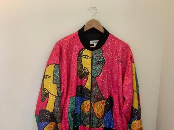 Vintage 90s Picasso Art Print Silk Bomber Rave Ja… - image 3