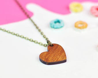 Wooden Love Heart Necklace | Valentines Gift Idea For Her | Nickel Free For Sensitive Skin