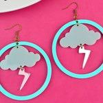 Lightning Bolt Storm Weather Statement Earrings
