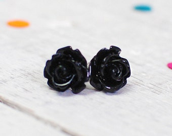 Flower Earrings | Jet Black Rose Jewellery | Gothic Earrings | For Sensitive Ears