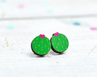 Cactus Earrings | Flowering Cactus Jewellery | Stud Earrings | Small Earrings | Nickel Free Jewellery