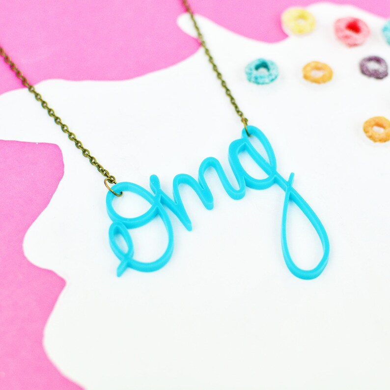 Oh my God Necklace  Teal Turquoise Jewellery  OMG Word image 0