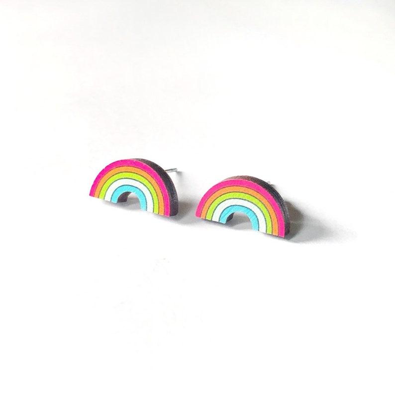 Rainbow Earrings Nickel Free Studs image 0