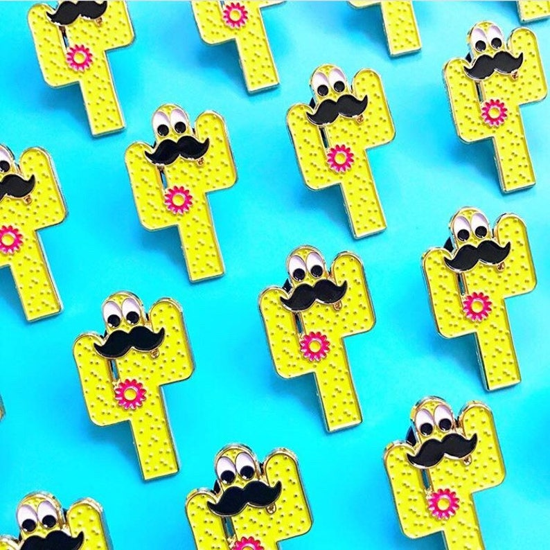 Cactus Enamel Pin with a Moustache & Googly Eyes  In Cognito image 0