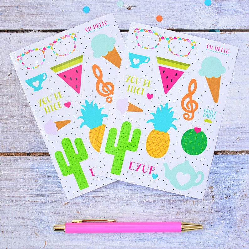 Sticker Sheet  Planner Stickers  Colourful Stationery  image 0