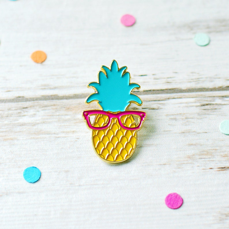 Pineapple Enamel Pin with Glasses  Lapel Pin Game  Fruit image 0