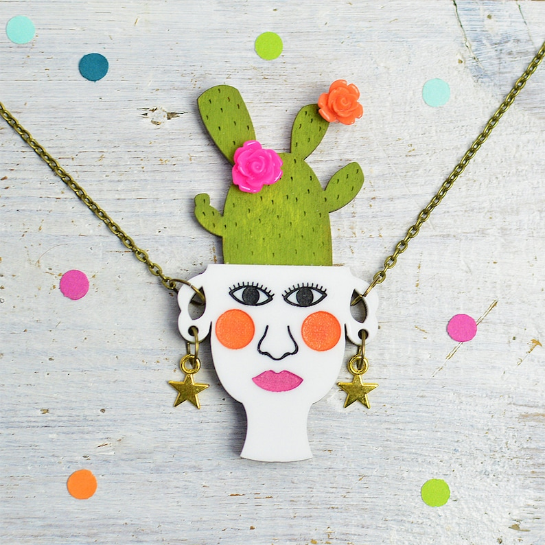 Cactus Necklace Plant Lady Jewellery Plant Pot Prickly image 0