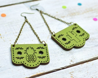 Cactus Green Earrings, Papel Picado, Mexican Bunting Jewellery, Dia De Los Muertos, Dangle Earrings, Nickel Free