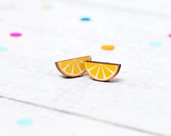 Orange Slice Earrings, Fruit, Wood, Nickel Free