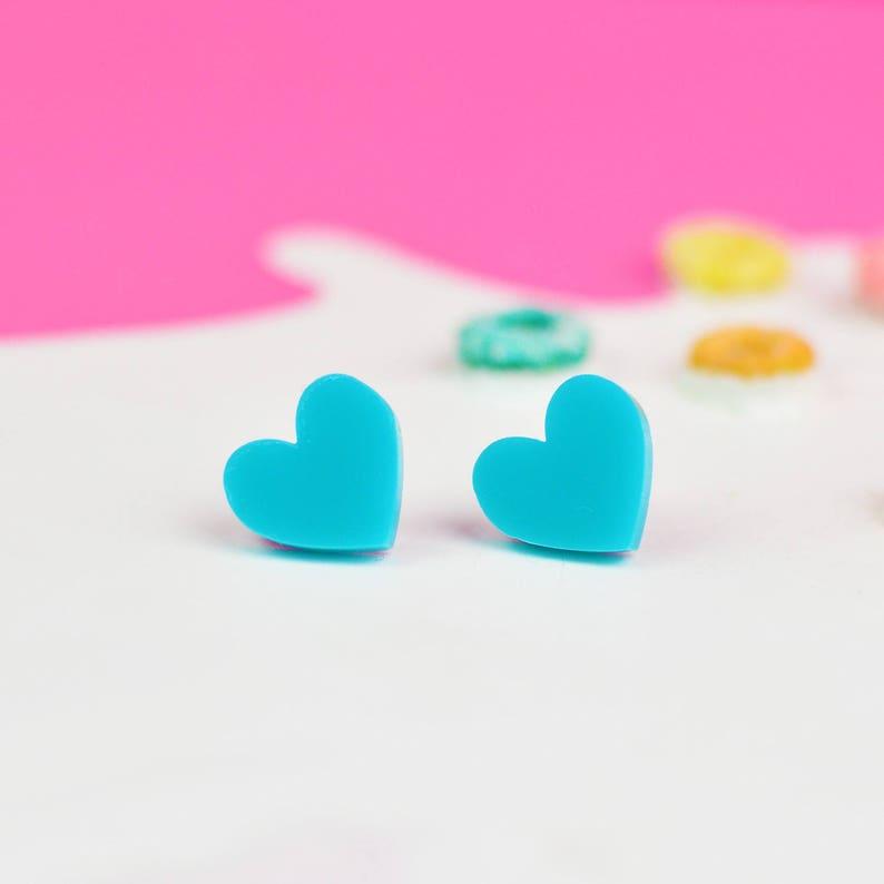 Teal Turquoise Heart Earrings  Valentines Jewellery  Nickel image 0
