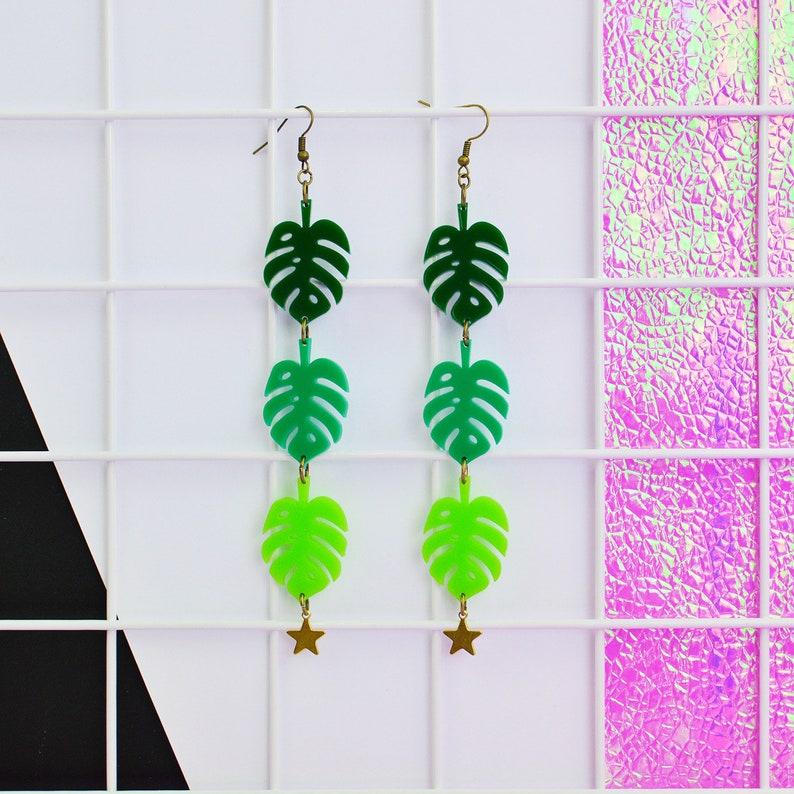 Monstera Leaf Statement Earrings image 0