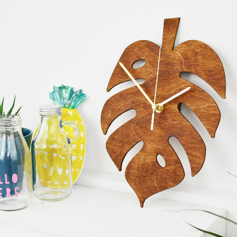 Cheese Plant Leaf Clock  Monstera Plant Kitchen Clock image 0